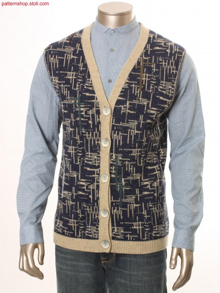 Fully Fashion waistcoat with 2-colour jacquard / Fully Fashion Strickweste mit 2-farbigem Jacquard