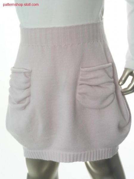 Jersey children's flared skirt with gathered pockets / Rechts-Links Kinderglockenrock mit gerafften Taschen