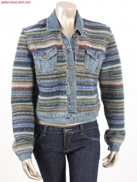 Felt-like jacket with denim inserts / Filzartige Strickjacke mit Jeansstoff-Eins