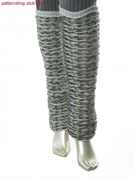 Leg warmers in purl structure with float-jacquard stripes / Beinstulpen in Links-Links Struktur mit Flottjacquard-Ringel