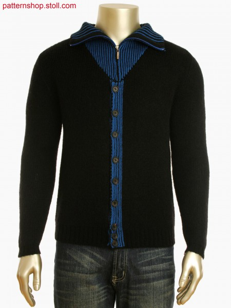 Fully Fashion 2-color half milano cardigan with intarsia elbow patches and intarsia button panel