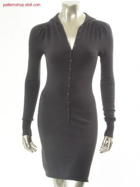Fitted jersey dress with inserted puffed sleeves / Tailliertes Rechts-Links Kleid mit eingesetzten Puff