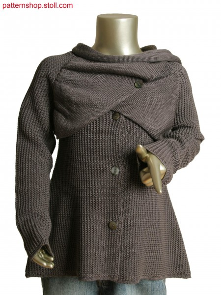 Fully Fashion kids coat with transferred structure and flap in integral knitting