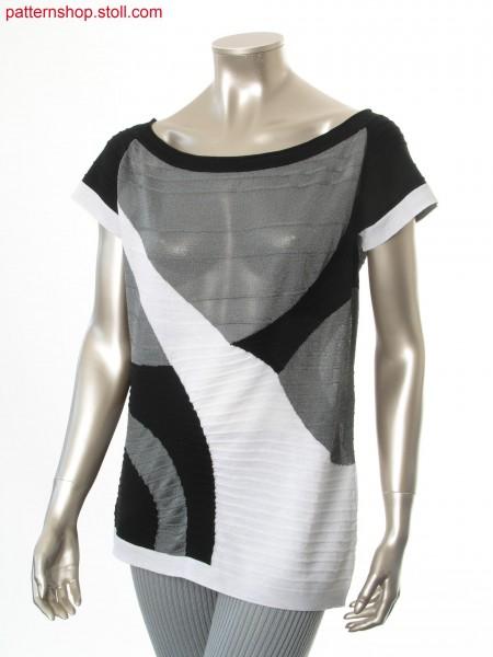 Intarsia short-sleeved pullover in jersey structure / Intarsia Kurzarmpullover in Rechts-Links Struktur