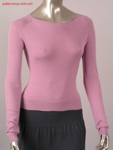 Tailored jersey pullover with special form / Taillierter Recht-Links Pullover mit spezieller Form