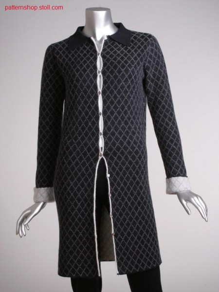 Fully fashion long jacket in 2-colour tubular structure / Fully Fashion Langjacke in 2-farbiger Schlauchstruktur