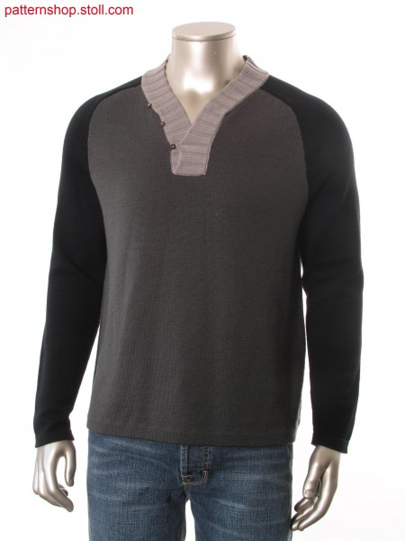 Fully Fashion pullover with button up V-neck and body in layer technique with transferred connection.