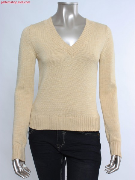 Fully Fashion jersey pullover with set-in sleeves / Fully Fashion Rechts-Links Pullover mit eingesetzten