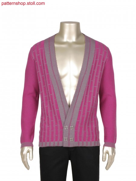 Fully Fashion 2 colour plated jacket in transferred structure, integrated placket and button hole