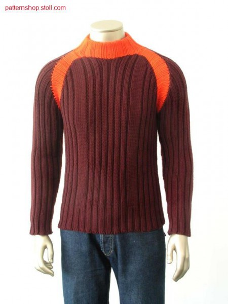 2-colour sweater with 2x2 rib / 2-farbiger Pullover mit 2x2 Rippe