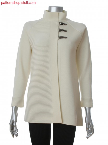 Fully Fashion women's raglan cardigan with integrated interlock trimming