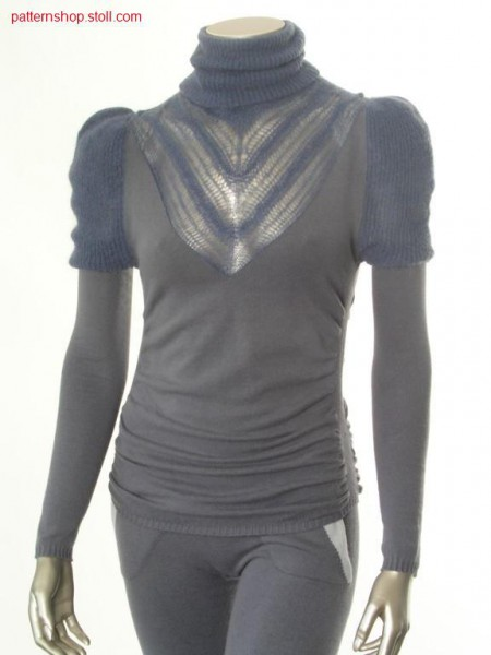 Fitted and gathered jersey pullover with puff sleeves / Taillierter und geraffter Rechts-Links Pullover mit Puff