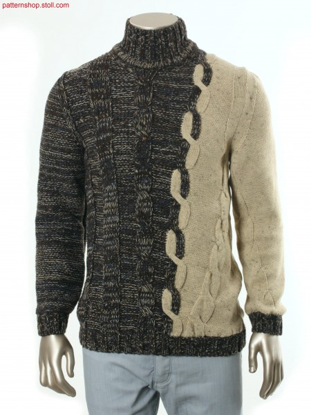 Fully Fashion-intarsia pullover with cable patterning / Fully Fashion-Intarsia Pullover mit Zopfmusterung