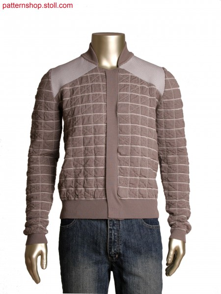 Fully Fashion 2-colour cardigan with quilted effect by tubular jacquard, high temperature melting yarn as logo effect