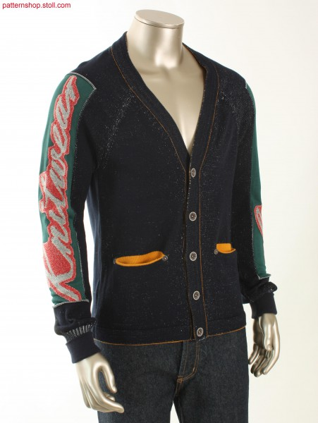 Fully Fashion plated jersey college style cardigan / Plattierte Fully Fashion Rechts-Links College-Stil Strickjacke