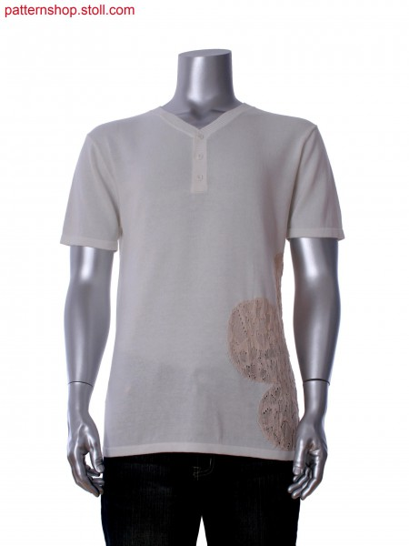 Fully Fashion short sleeve T-shirt with intarsia, structure and neck trim with integral button hole