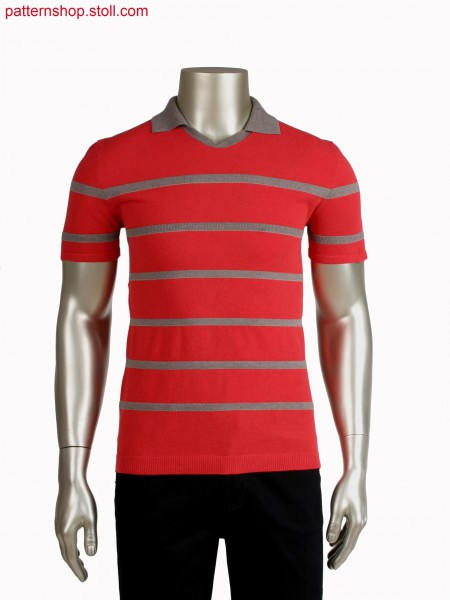 Fully Fashion poloshirt in pique and doublebed structured stripes