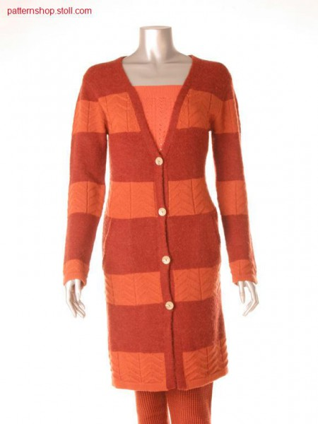 Fully Fashion coat in 2-color with single jersey transfer jacquard