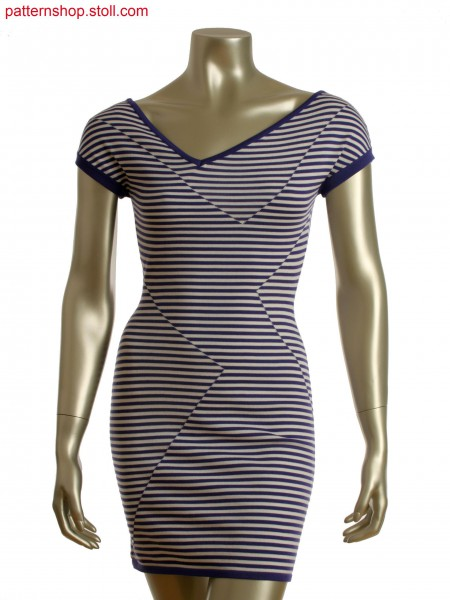 Fully Fashion asymmetric 2-color intarsia stripe dress with different yarn ends