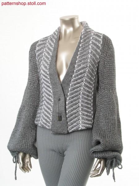 Cardigan with herringbone pattern in wave structure / Strickjacke mit Fischgr