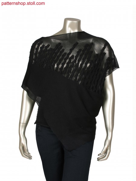 Fully Fashion asymmetric top, knitted in layer technique, float structure in check woven optic