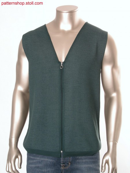 Fully Fashion waistcoat in 2-colour tubular knitted fabric/ Fully Fashion Weste in 2-farbigem Schlauchgestrick