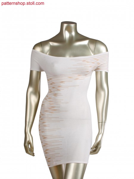 Fully Fashion dress, 2 colour intarsia stripes with extended loops
