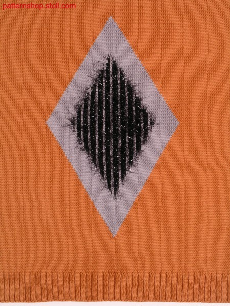 Intarsia rhomb with weft threads / Intarsiaraute mit Schussf