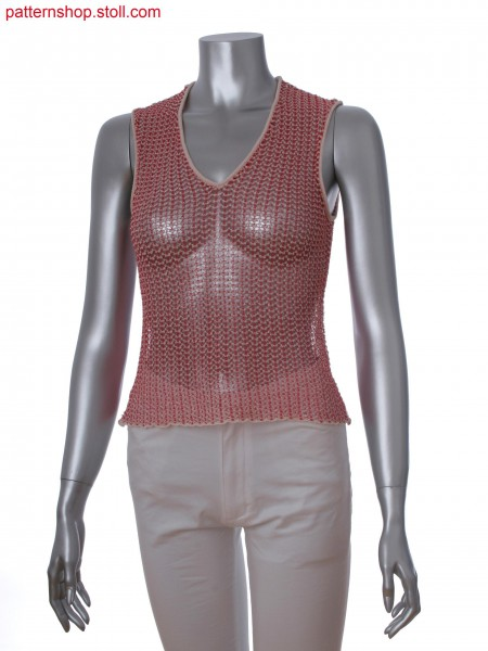 Fully Fashion sleeveless top in 2-color pointelle structure