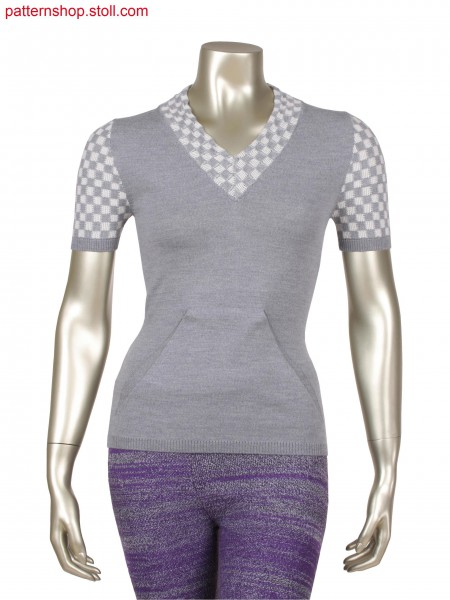Fully Fashion top with integrated pouch pocket, 2 colour float jacquard