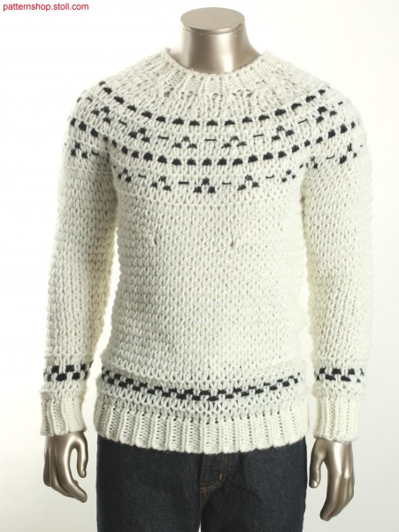 Pullover with borders in 2-colour float jacquard / Pullover mit Bord
