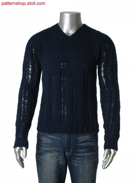 Jersey pullover with saddle shoulder / Rechts-Links Pullovermit Sattelschulter