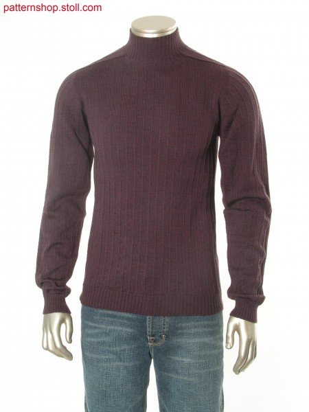 Jersey pullover with one needle vertical stripes / Rechts-Links Pullover mit vertikalen Nadelstreifen