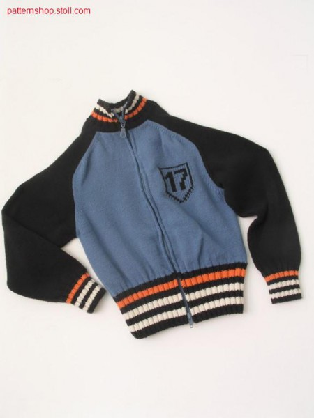 Intarsia children's cardigan with saddle-shoulder/ Intarsia Kinderblouson mit Sattelschulter