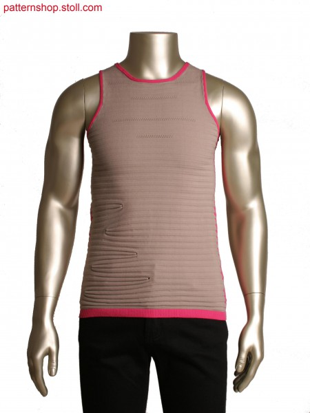 Fully Fashion tank top,stripe effect by different ends,partial knitting and pointelle lines
