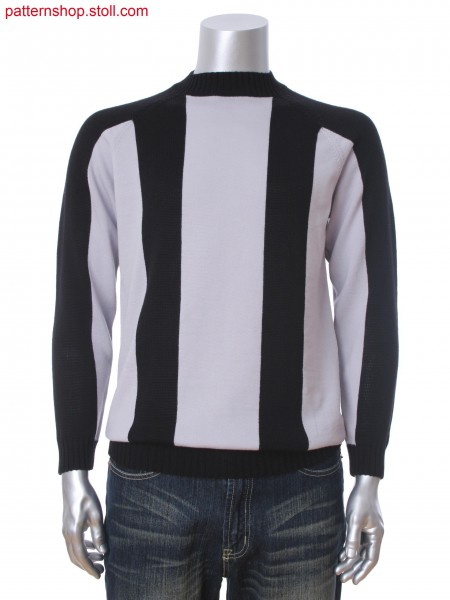 Fully Fashion men's raglan pullover with 2-color intarsia