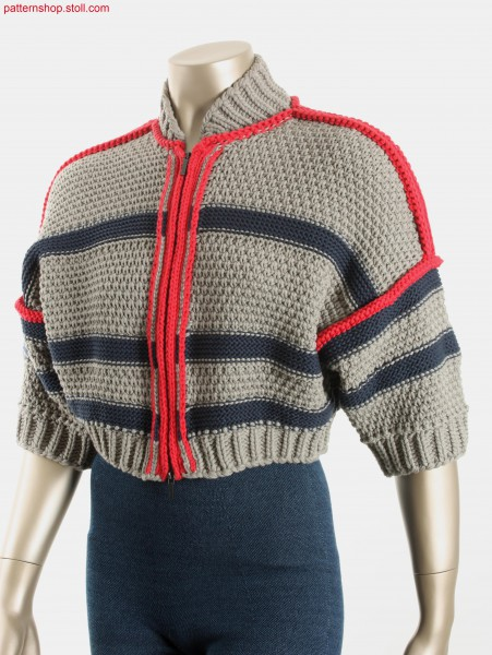 Striped Fully Fashion Bolero in barley grain structure / Geringelte Fully Fashion Bolero in Gerstenkornstruktur