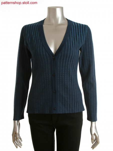 Fully Fashion women's buttoned cardigan with vertical striped structure and color gradient on front