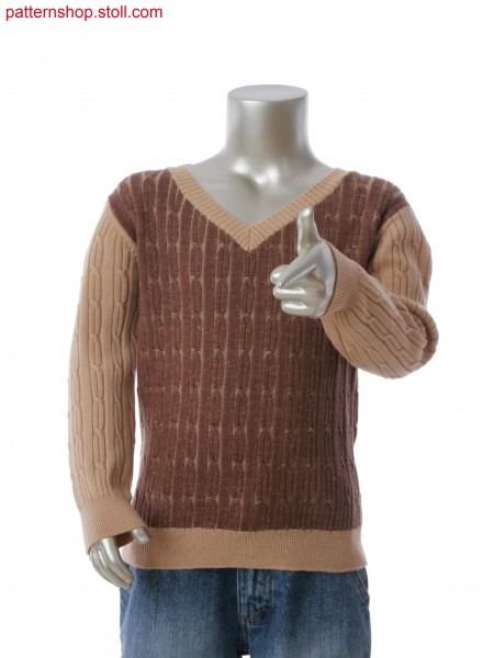 Fully Fashion V-neck pullover with plated cable structure