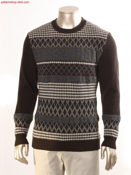 Striped pullover with various types of jacquard / Ringelpullover mit verschiedenen Jacquardbindungen