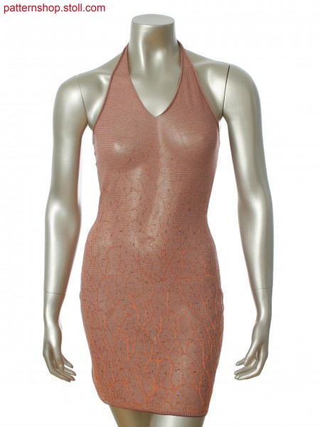 Fully Fashion halter neck dress with 3-color relief jacquard