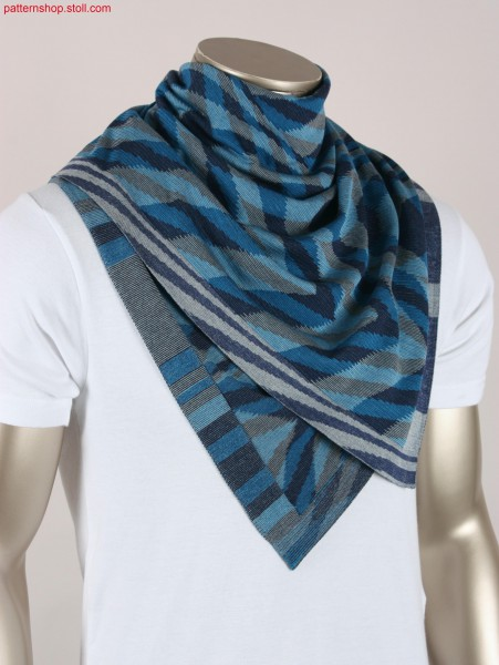 Foulard in ikat plated 2-system striped jersey / Foulard in ikat-plattiertem 2-System-geringeltem Rechts-Links
