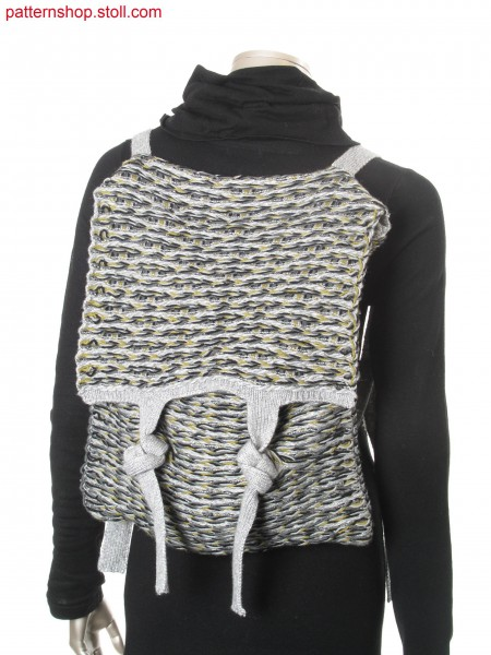 Backpack in purl structure with float-jacquard stripes / Rucksack in Links-Links Struktur mit Flottjacquard-Ringel