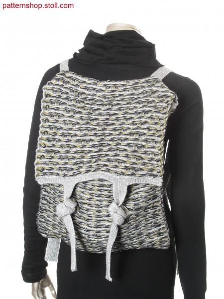 Backpack in purl structure with float-jacquard stripes / Rucksack in Links-Links Struktur mit Flottjacquard-Ringel