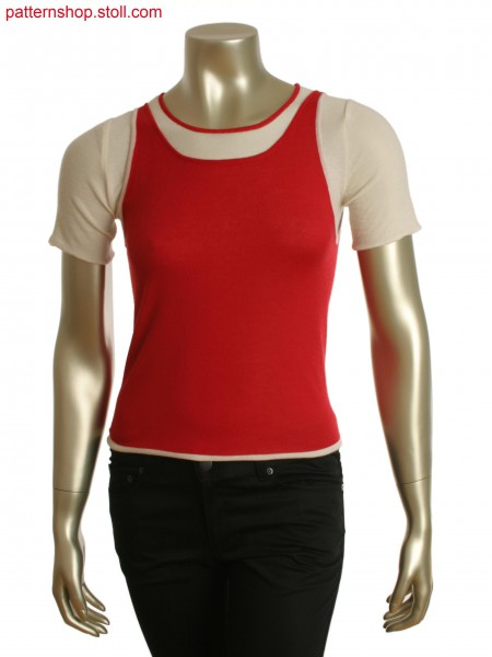 Double layered garment, short sleeve crew underneath with a vest on top