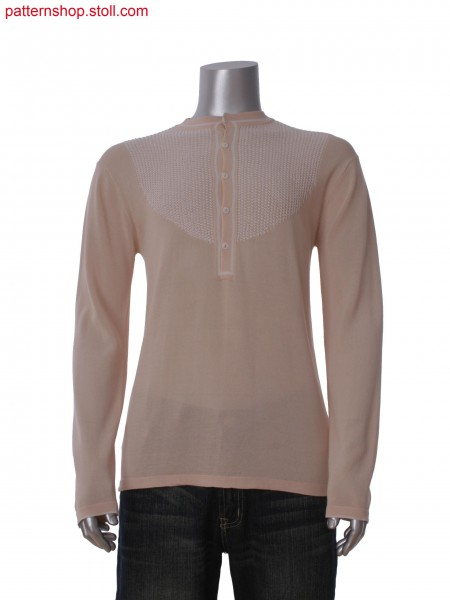 Fully Fashion T-shirt with knitted on placket with buttonholes and ornamental intarsia structure