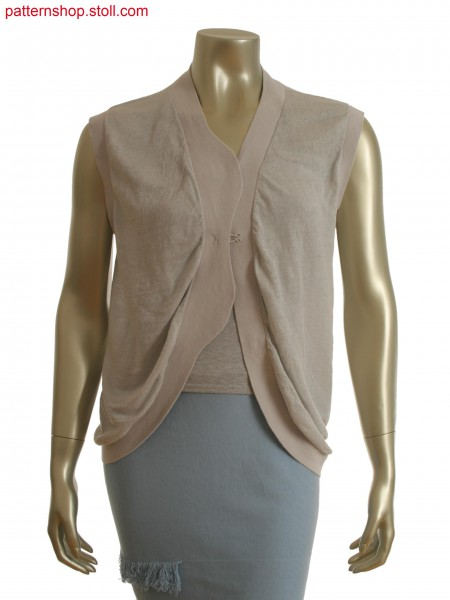 Fully Fashion intarsia waistcoat with shaped placket in interlock structure and knitted in one piece