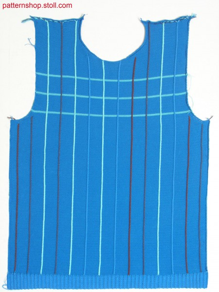 Fully Fashion front with 14 one needle intarsia stripes / Fully Fashion Vorderteil mit 14 einn