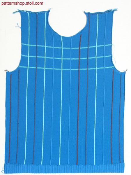 Fully Fashion front with 14 one needle intarsia stripes / Fully Fashion Vorderteil mit 14 einn