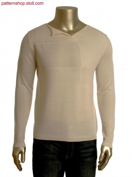 Fully Fashion V-neck pullover with asymmetric collar flap.Body structure in different gauge optics.